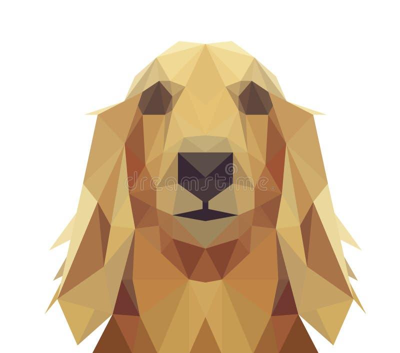 Baixo projeto geométrico poli do cão ilustração stock