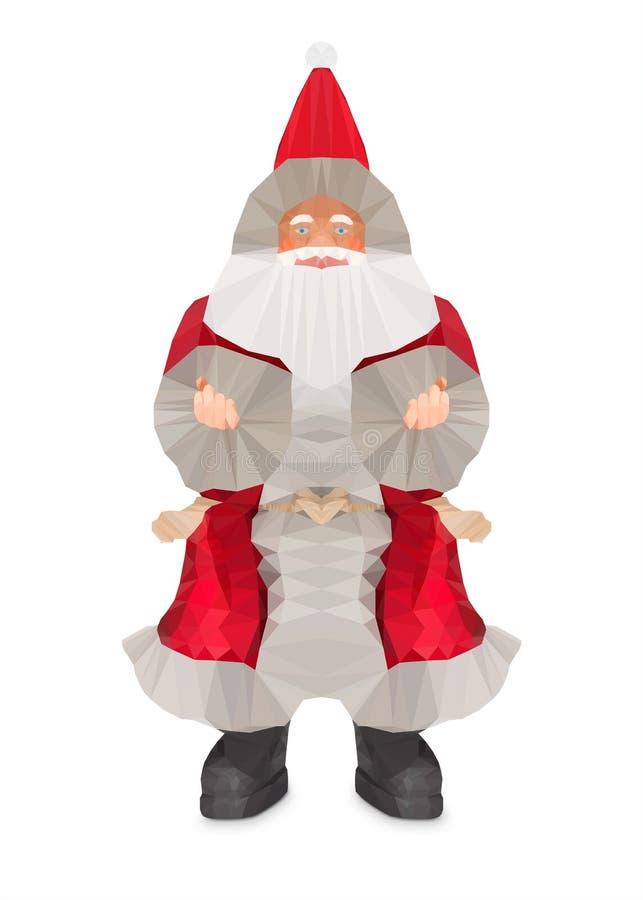 Baixo projeto poli de Santa Claus foto de stock royalty free