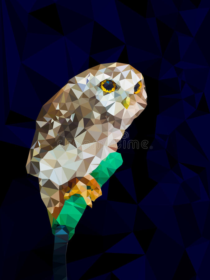 Baixo projeto poli geométrico da coruja ilustração stock