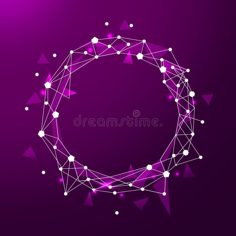 Baixo quadro poli abstrato com linha do polígono no fundo abstrato Espaço poligonal baixo poli com pontos de conexão e ilustração royalty free