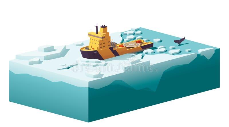 Baixo quebra-gelo poli do vetor que quebra o gelo ilustração do vetor