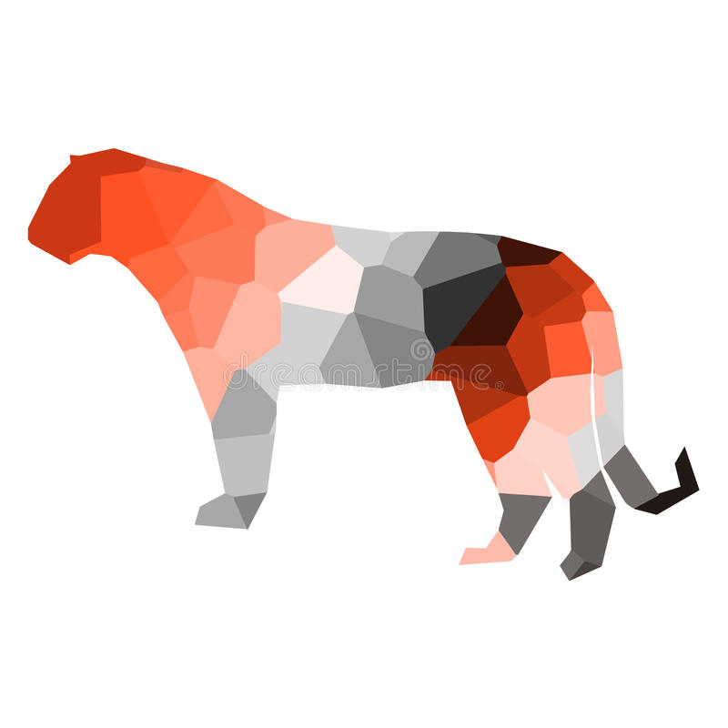 Baixo tigre poli ilustração stock