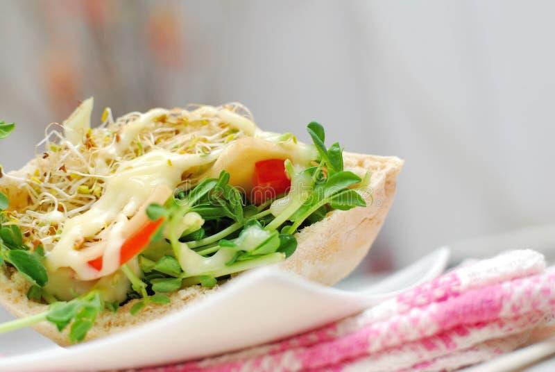Baixo tiro do sanduíche saudável da salada imagens de stock