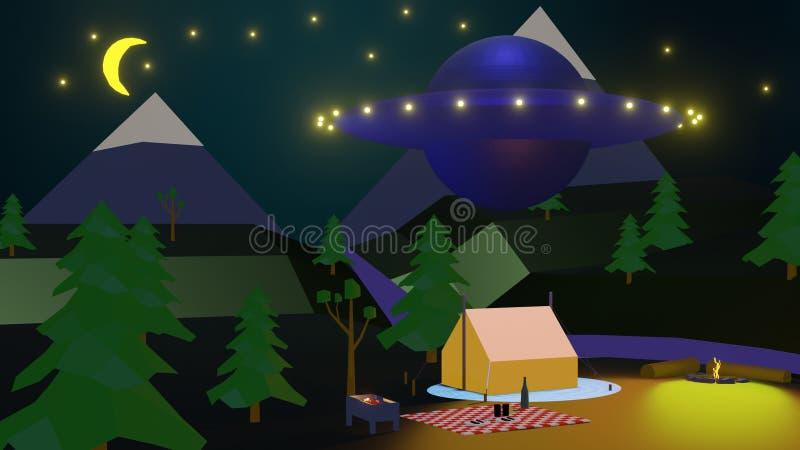 Baixo trekking poli nas montanhas e no UFO de incandescência imagens de stock royalty free