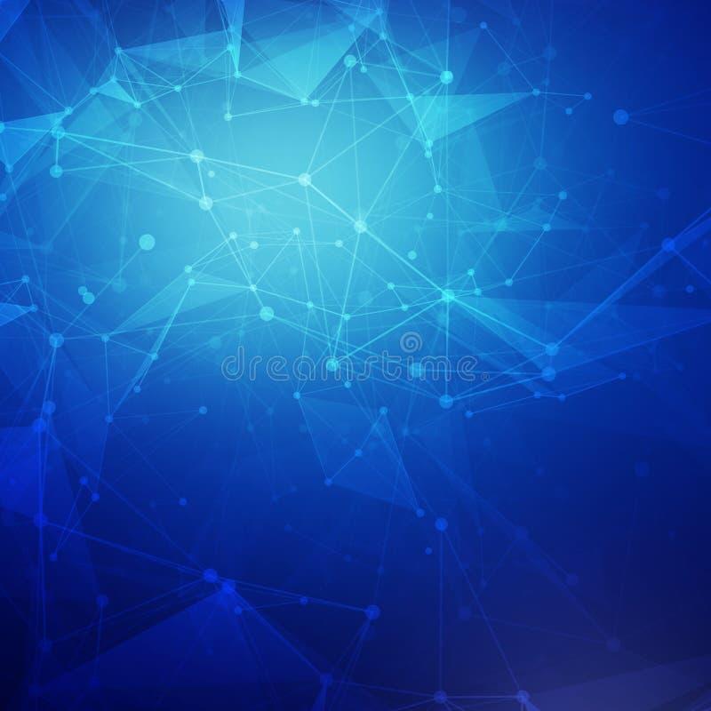 Baixo vetor brilhante poli azul abstrato da tecnologia ilustração stock