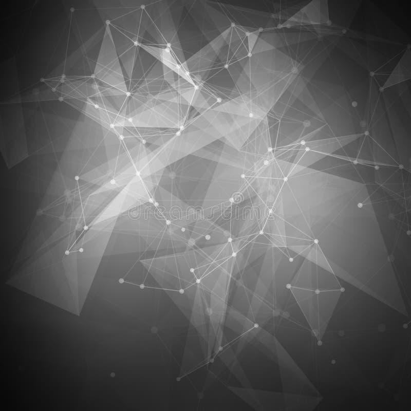Baixo vetor brilhante poli preto abstrato da tecnologia ilustração do vetor