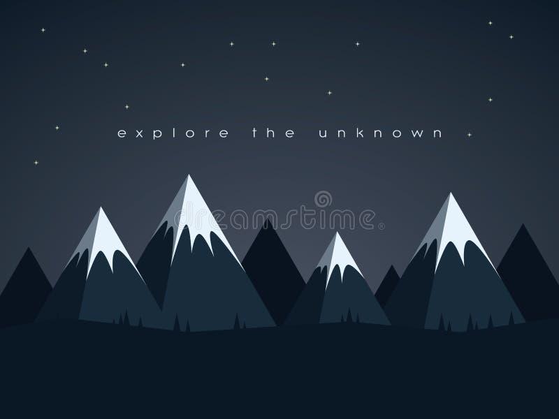 Baixo vetor poli da paisagem da noite das montanhas ilustração royalty free