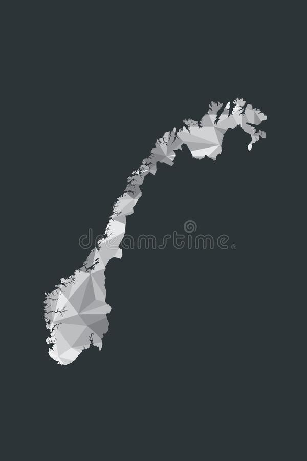 Baixo vetor poli do mapa de Noruega de formas geométricas ou de triângulos da cor branca no fundo preto ilustração royalty free