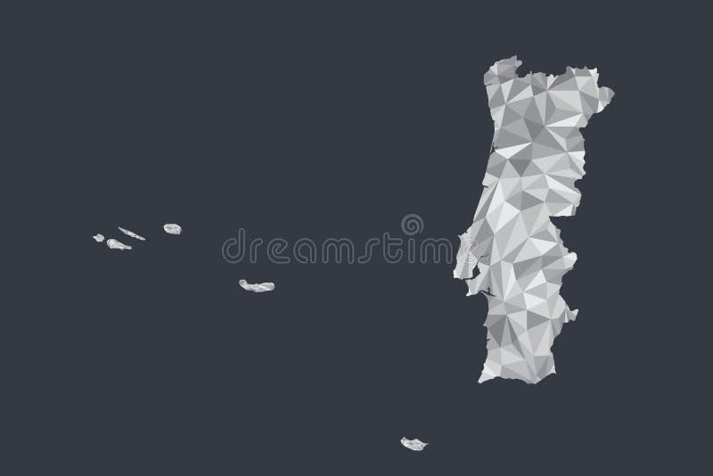 Baixo vetor poli do mapa de Portugal de formas geométricas ou de triângulos da cor branca no fundo preto ilustração stock