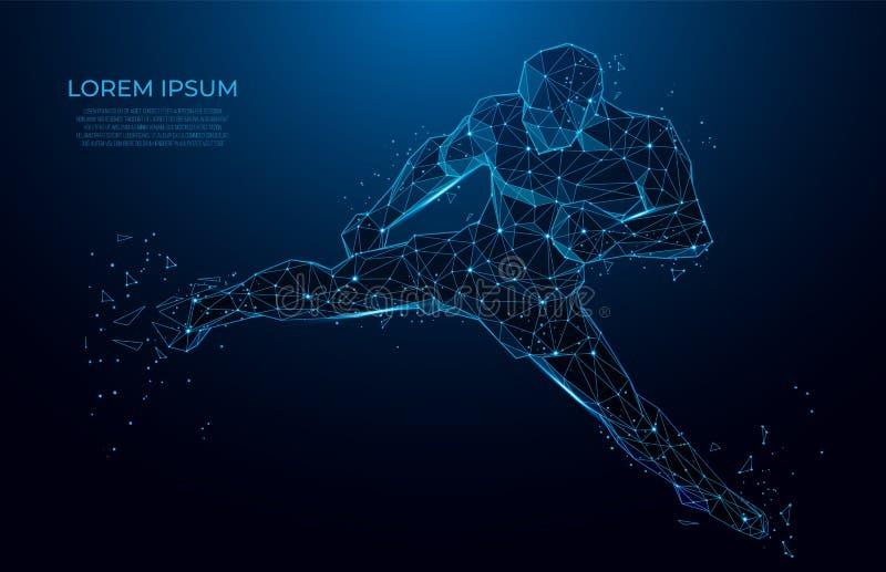 Baixo wireframe poli do corpo humano pugilista do atleta Cartaz do esporte com kickboxer do homem dos triângulos Arte poligonal d ilustração do vetor