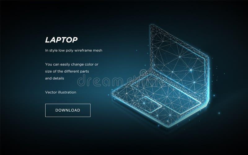 Baixo wireframe poli do portátil no fundo escuro Futuro ou inovação do símbolo Linhas e pontos do plexo na constelação Vetor ilustração stock