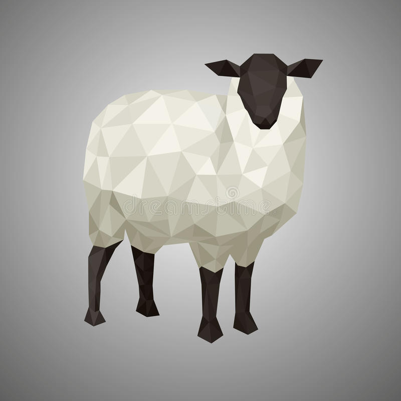 Baixos carneiros polis Ilustração do vetor no estilo poligonal Animal da floresta no fundo branco foto de stock