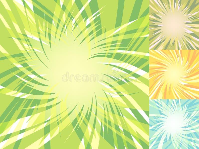 Baixos fundos polis de incandescência da explosão Terras abstratas da explosão ajustadas Ilustração do vetor para a decoração com ilustração do vetor