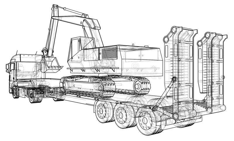 Baixos reboque e máquina escavadora do caminhão da cama Fio-quadro Formato EPS10 Rendição do vetor de 3d ilustração stock