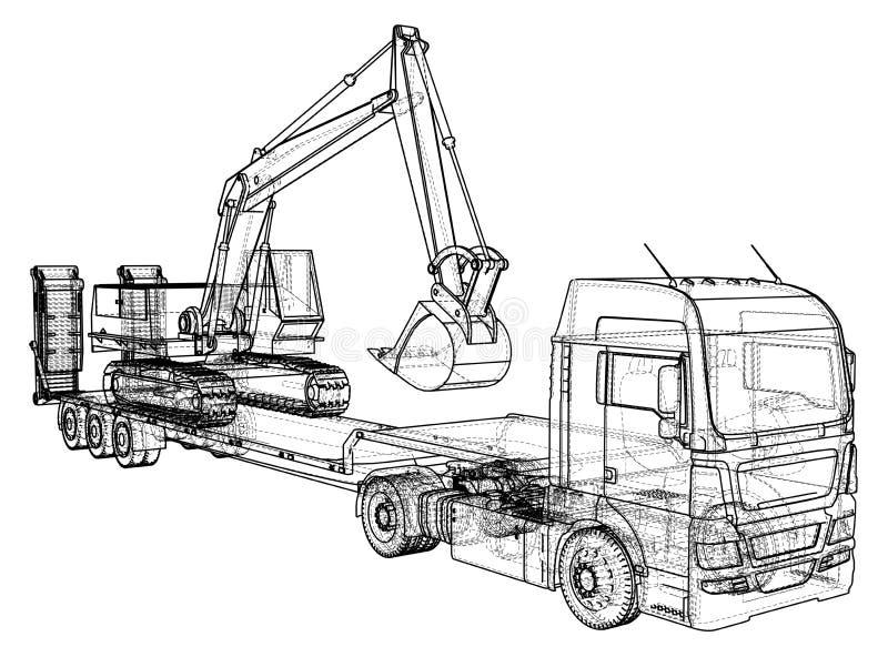 Baixos reboque e máquina escavadora do caminhão da cama Fio-quadro Formato EPS10 Vetor criado de 3d ilustração do vetor