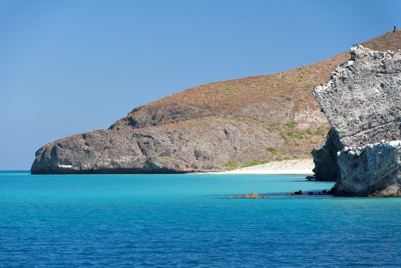 Baja california beach. Crystal water white sand tropical paradise panorama royalty free stock photo
