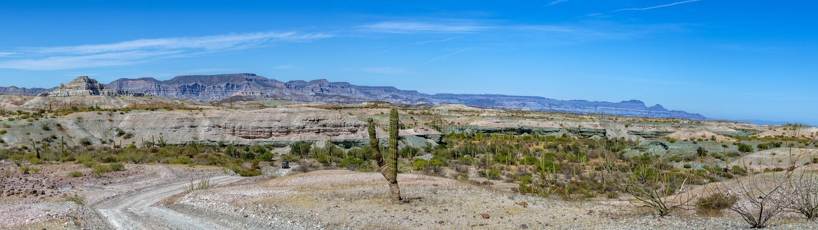 Baja California desert and cortez sea landscape view. Baja California desert and ocean landscape view panorama stock images