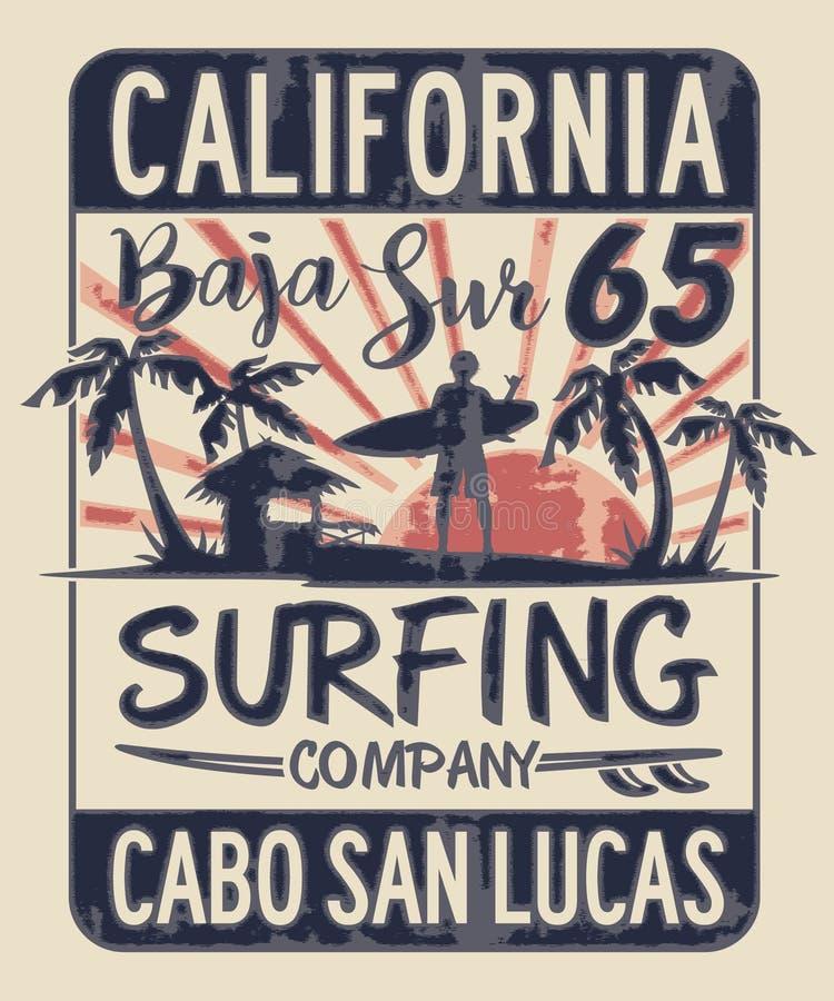Baja California Sur som surfar företaget royaltyfri illustrationer