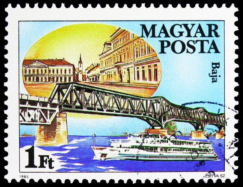 Baja, Hungría, Danubio Bridges serie, alrededor de 1985 fotografía de archivo