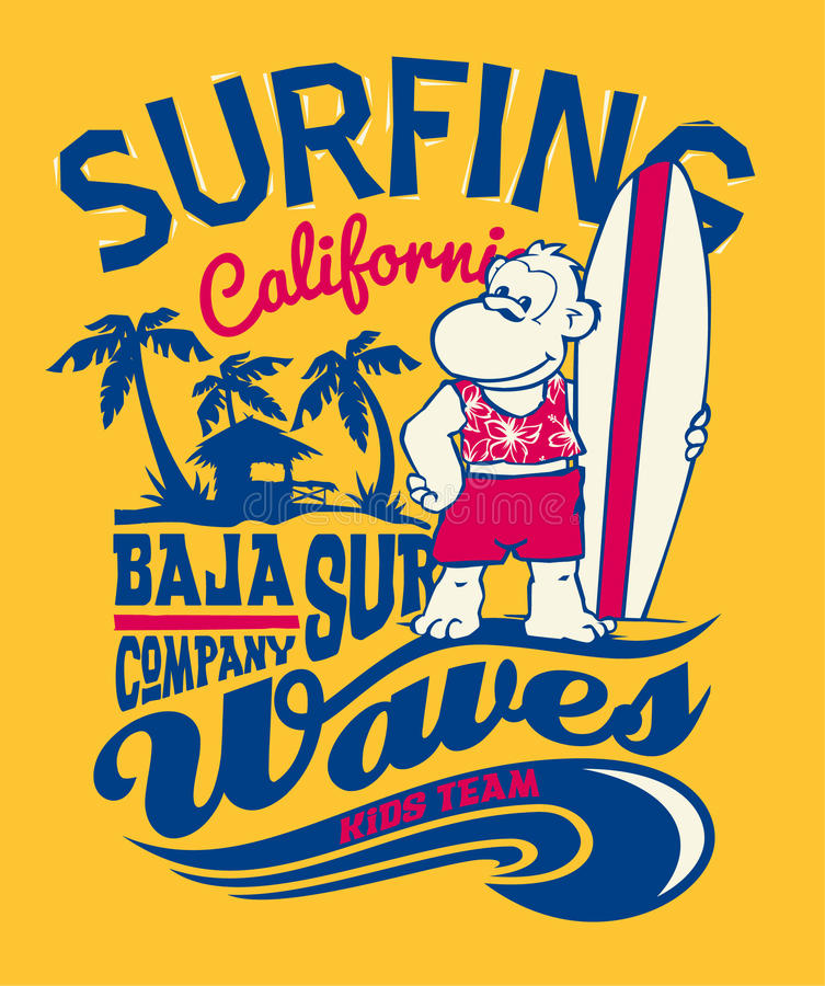 Baja Kalifornia małpy surfing royalty ilustracja