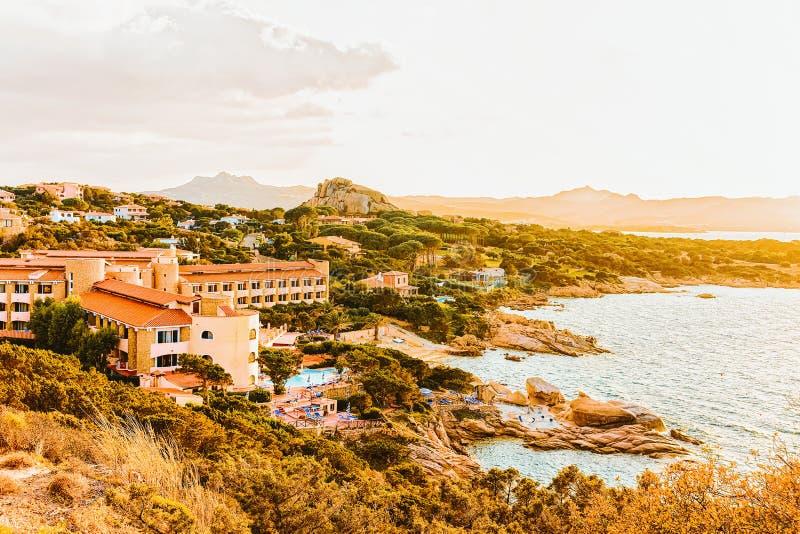 Baja Sardinia in the Mediterranean Sea. In Costa Smeralda on Sardinia of Italy stock image
