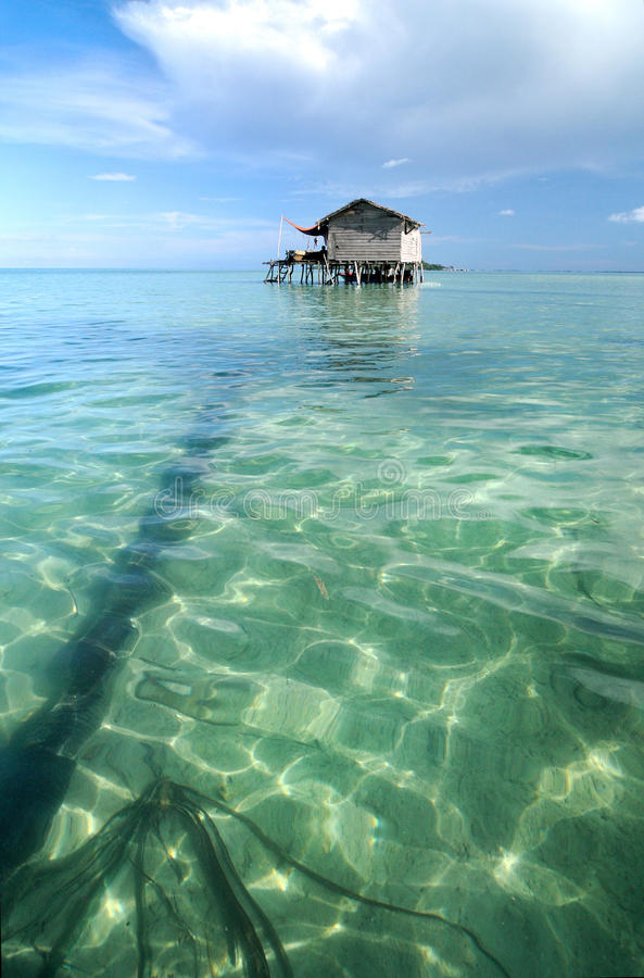 Bajau fisherman's wooden hut royalty free stock photos