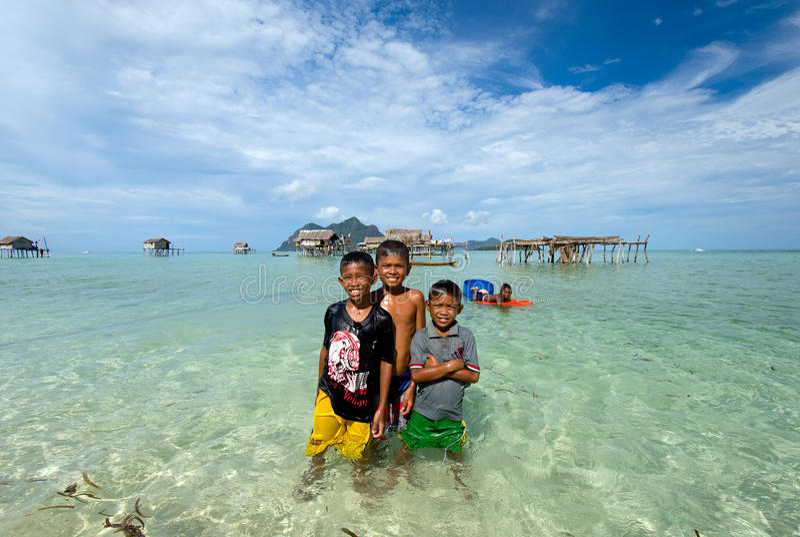 Bajau Laut nahe Sipadan-Insel Sabah Borneo Malaysia stockbild