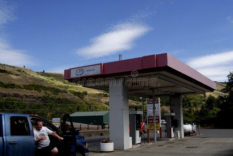 Baje el precio de la gasolina en Juliaette el condado de Latah imagen de archivo libre de regalías