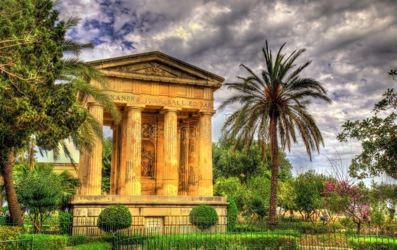 Baje los jardines de Barrakka en La Valeta imagenes de archivo