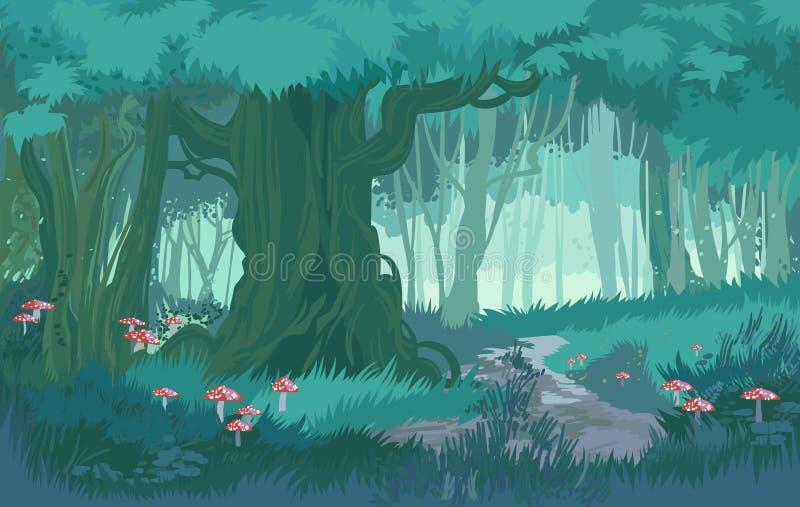 Bajecznie cienie błękitnej półmrok lasowej dżungli tła wektorowy las z pieczarkami ilustracji