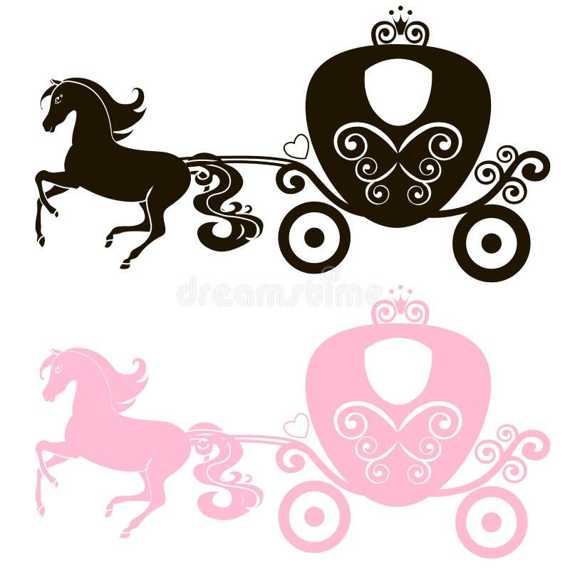 Bajecznie Królewski różowy fracht rysujący Princess rocznika dziewczyny wektorowy spacerowicz, logo, czerń i sylwetki ikona dalej ilustracji
