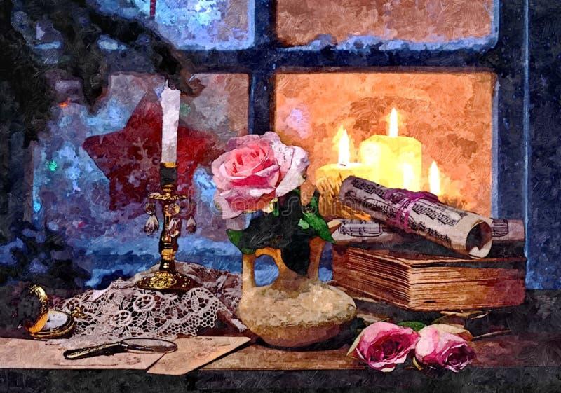 Bajecznie sylwester Święta świec, szklane życia cicho czerwonego wina Malować mokrą akwarelę na papierze Naiwna sztuka sztuka abs royalty ilustracja