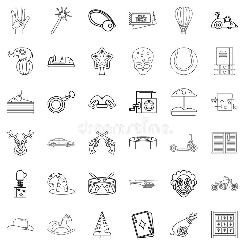 Bajek ikony ustawiać, konturu styl ilustracji