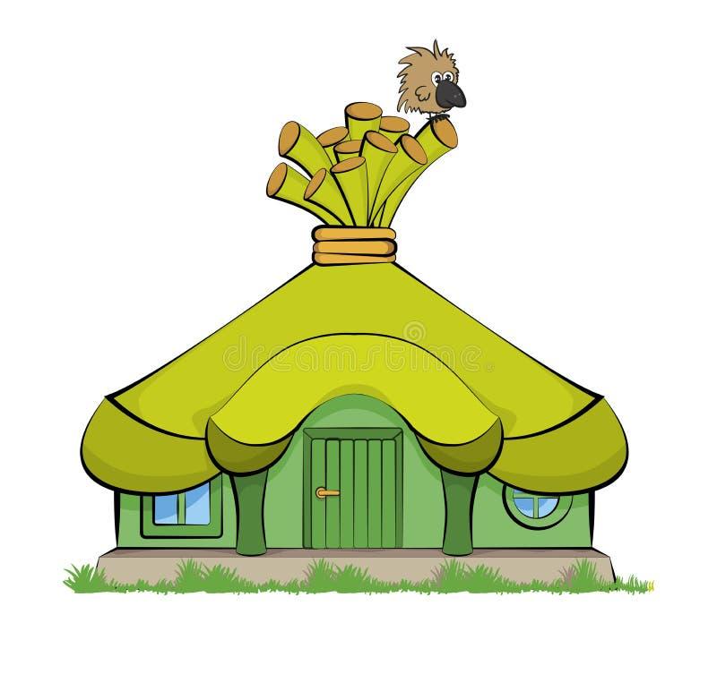 Bajka dom z zielonym dachem ilustracja wektor