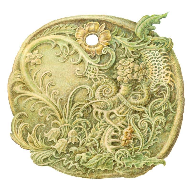 Bajka kamienia monety obraz (amulet) Odizolowywający na białym Lo royalty ilustracja