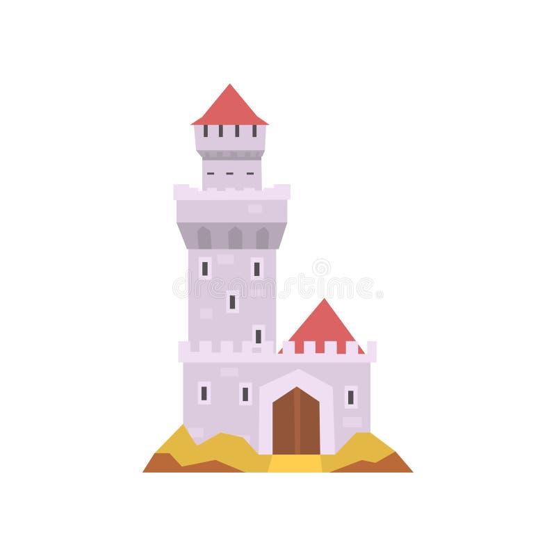 Bajka kasztel na bielu Kamienny fort z wierza, drewnianą bramą i czerwień rożka dachem, Średniowieczny budynek mieszkanie ilustracja wektor