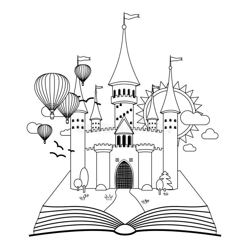 Bajka kasztel na książkowym kolorystyka wektoru wizerunku royalty ilustracja