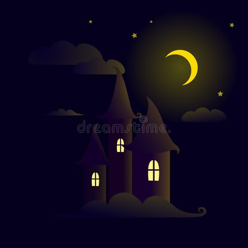 Bajka kasztel w nocnym niebie royalty ilustracja