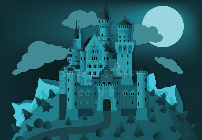 Bajka kasztel w nocy ilustracja wektor
