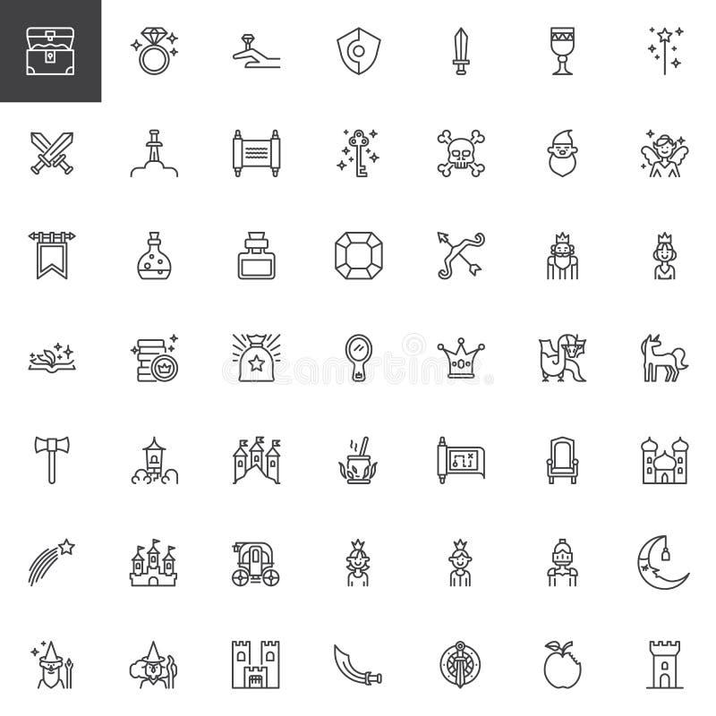Bajka konturu ikony ustawiać ilustracja wektor
