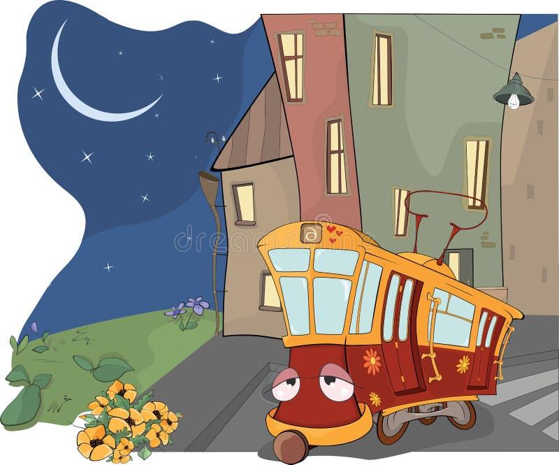 Bajka na czerwień zmęczonym tramwaju ilustracji