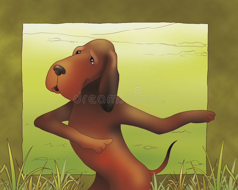 bajka pointer psia miejscu ilustracji