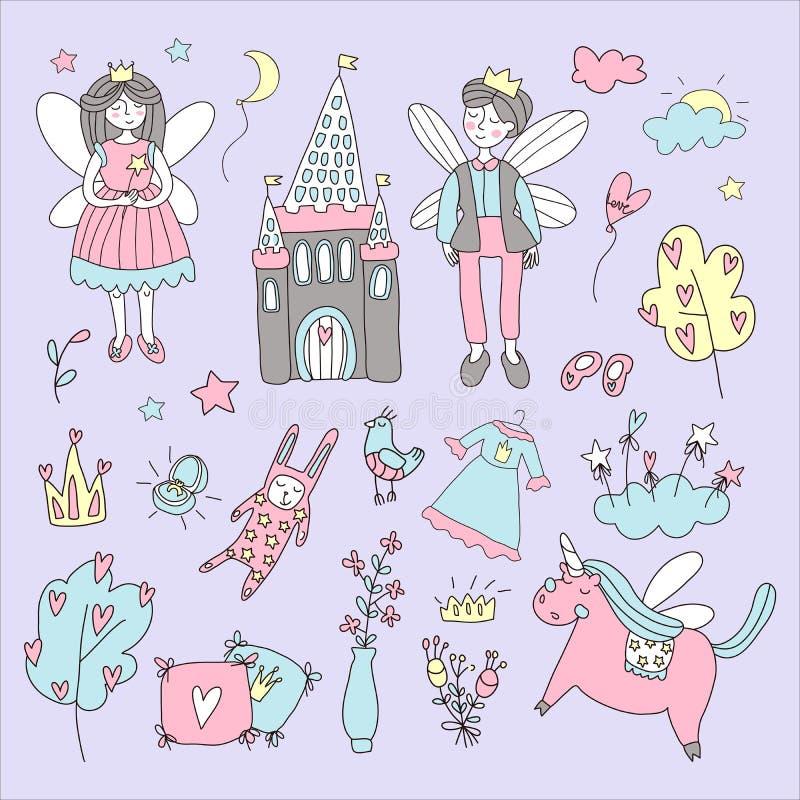Bajka ustawiająca z oskrzydlonymi charakterami z kasztel, jednorożec doodle ilustracja obrazków mój portfolio widzii jednakowego  ilustracji