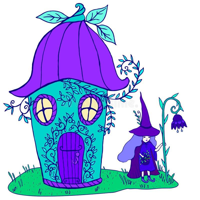 Bajki domowy bellflower, czarownica w kapeluszu z purpurowym włosy i royalty ilustracja