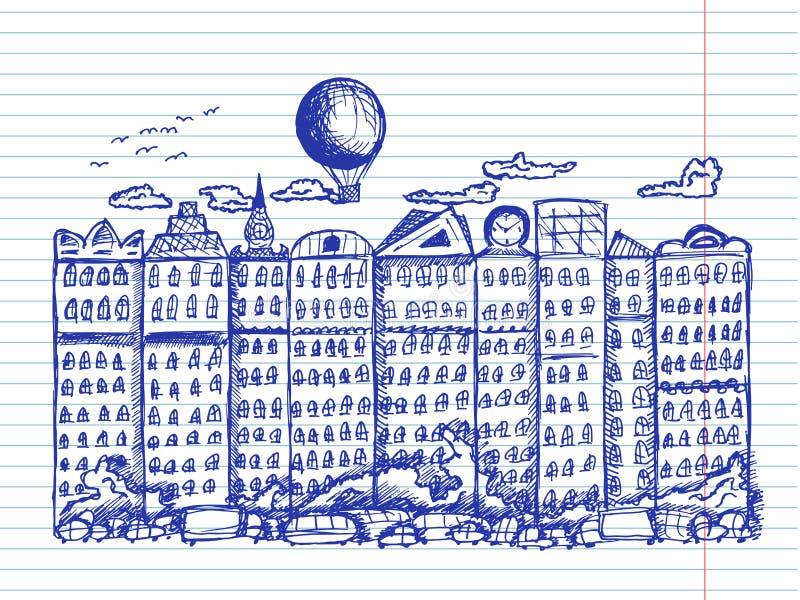 Bajki miasto na copybook tle ilustracja wektor