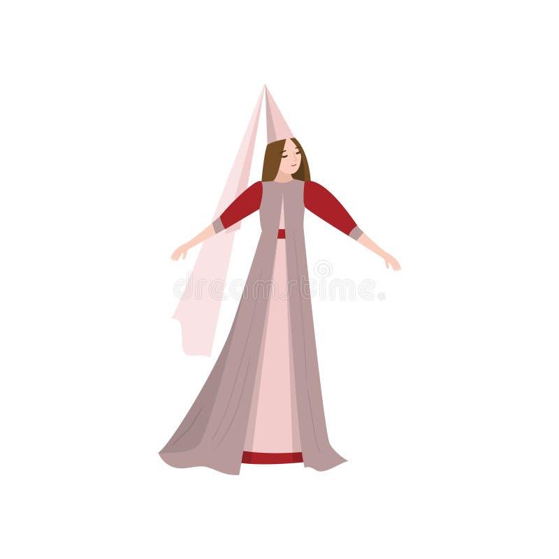 Bajki piękny princess w długiej sukni z conical kapeluszem royalty ilustracja