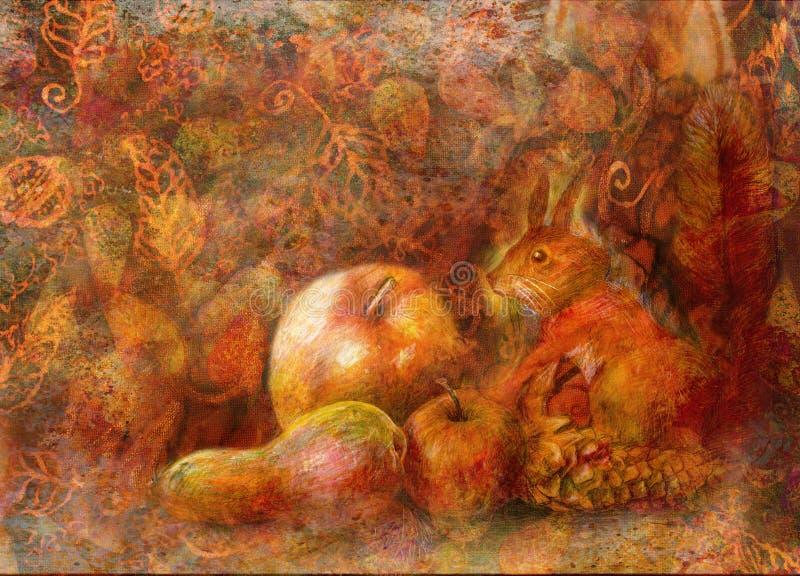 Bajki wciąż życie z wiewiórki i jesieni owoc na abstrakcjonistycznym tle ilustracja wektor