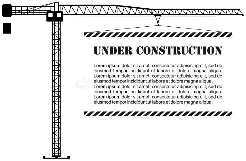Bajo concepto de la construcción Silueta de construir grúa industrial con el cartel Equipo y maquinaria pesados Vector libre illustration
