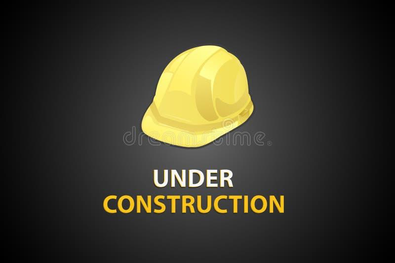 Bajo construcción con el casco ilustración del vector