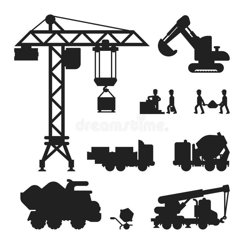 Bajo ejemplo del vector de la silueta de la técnica de la construcción ilustración del vector